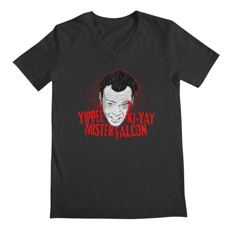 Yippee Ki-Yay Mister Falcon Men's Regular V-Neck by Jerkass Clothing Co.