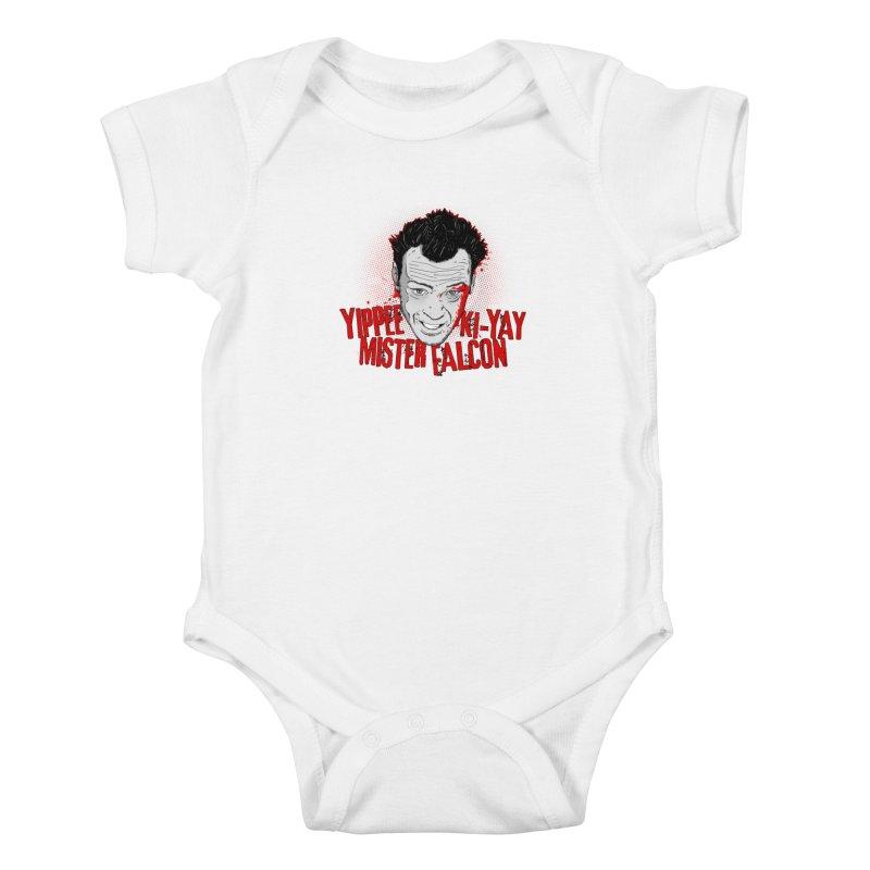 Yippee Ki-Yay Mister Falcon Kids Baby Bodysuit by Jerkass Clothing Co.