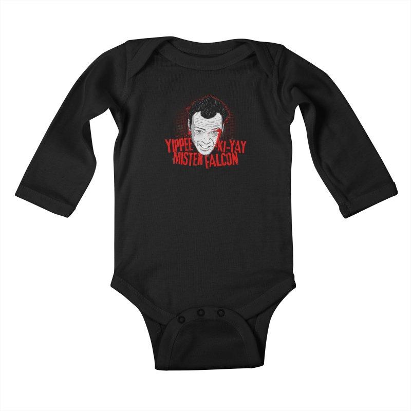 Yippee Ki-Yay Mister Falcon Kids Baby Longsleeve Bodysuit by Jerkass Clothing Co.
