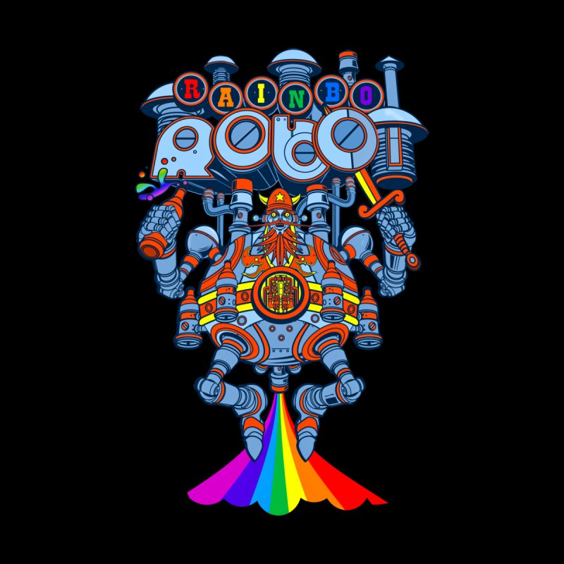 Rainbow Robo Men's Baseball Triblend T-Shirt by Jesse Philips' Artist Shop