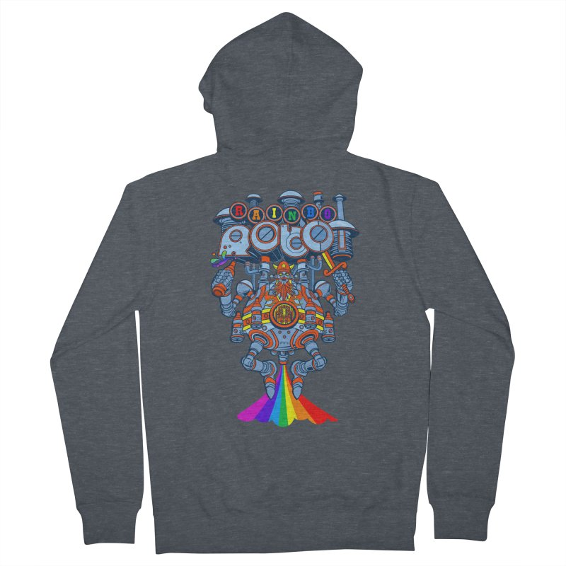 Rainbow Robo Men's French Terry Zip-Up Hoody by Jesse Philips' Artist Shop
