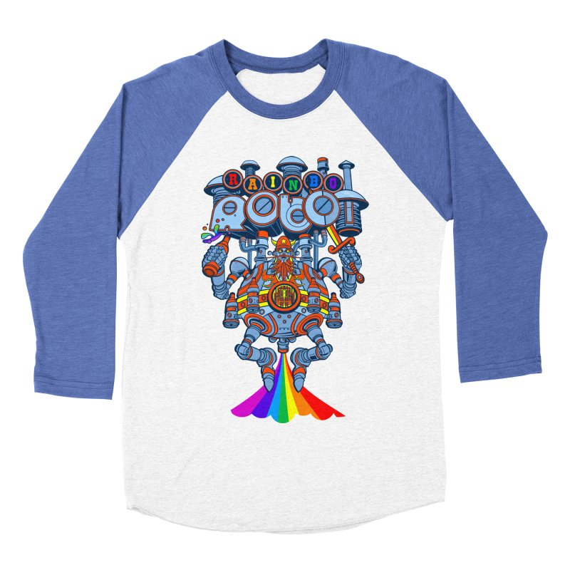 Rainbow Robo in Men's Baseball Triblend T-Shirt Tri-Blue Sleeves by Jesse Philips' Artist Shop