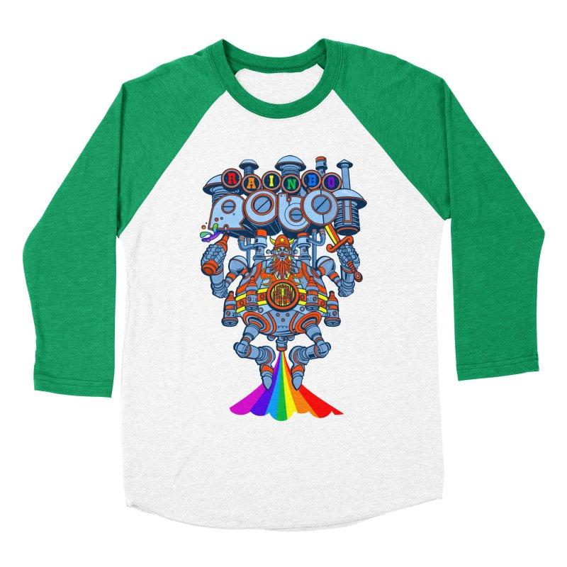 Rainbow Robo Men's Baseball Triblend Longsleeve T-Shirt by Jesse Philips' Artist Shop