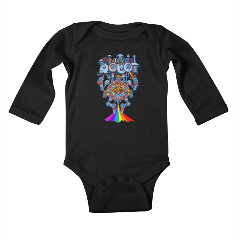 Rainbow Robo Kids Baby Longsleeve Bodysuit by Jesse Philips' Artist Shop