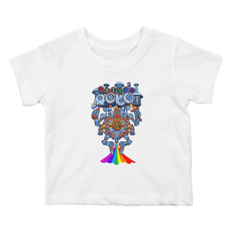 Rainbow Robo Kids Baby T-Shirt by Jesse Philips' Artist Shop