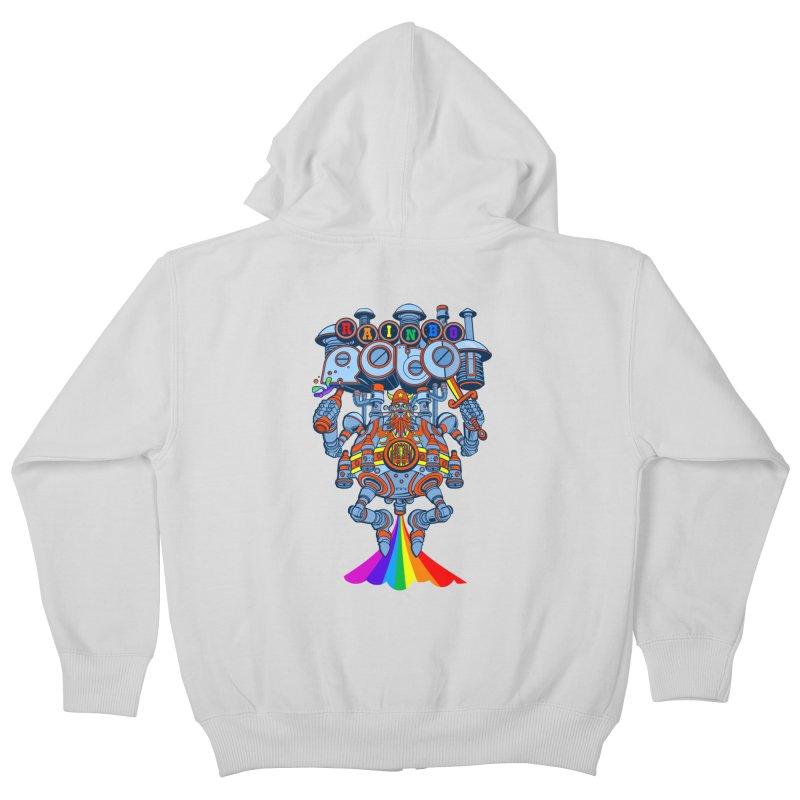 Rainbow Robo Kids Zip-Up Hoody by Jesse Philips' Artist Shop