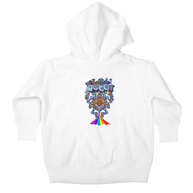 Rainbow Robo Kids Baby Zip-Up Hoody by Jesse Philips' Artist Shop