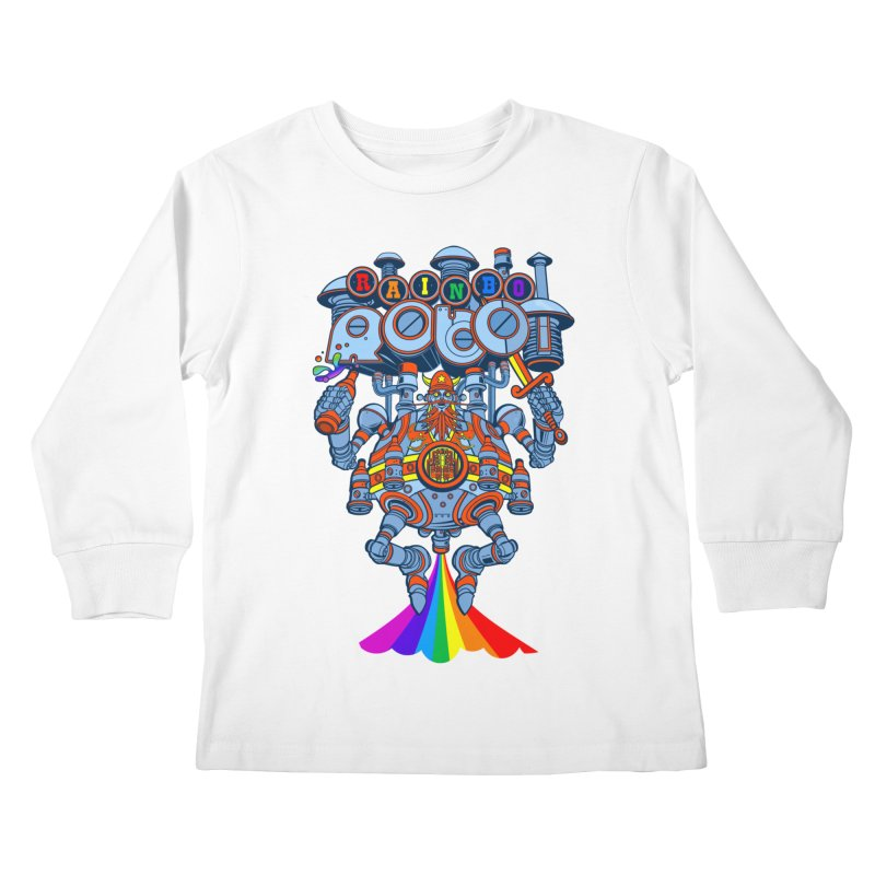Rainbow Robo Kids Longsleeve T-Shirt by Jesse Philips' Artist Shop