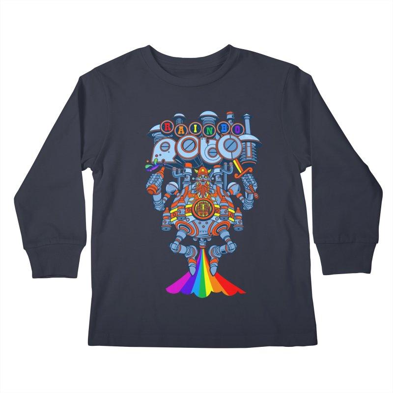 Rainbow Robo Kids Longsleeve T-Shirt by Jesse Philips' Artist Shop