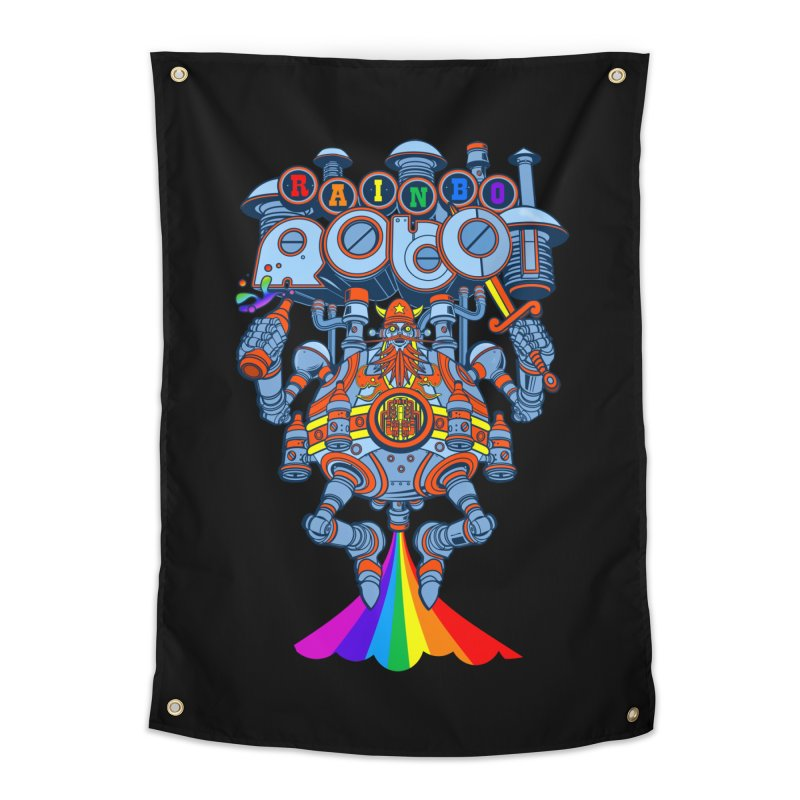 Rainbow Robo Home Tapestry by Jesse Philips' Artist Shop