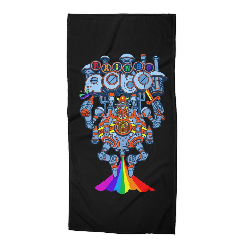 Rainbow Robo Accessories Beach Towel by Jesse Philips' Artist Shop
