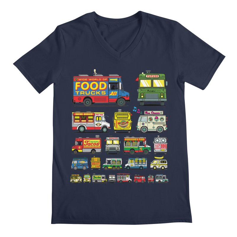 Food Truck in Men's V-Neck Navy by Jesse Philips' Artist Shop