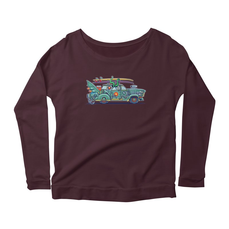 Surf's Up Women's Longsleeve Scoopneck  by Jesse Philips' Artist Shop