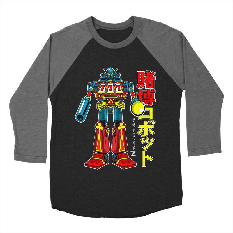 Super Slot-Bot Gamblor in Men's Baseball Triblend T-Shirt Grey Triblend Sleeves by Jesse Philips' Artist Shop