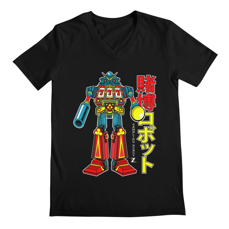 Super Slot-Bot Gamblor Men's Regular V-Neck by Jesse Philips' Artist Shop