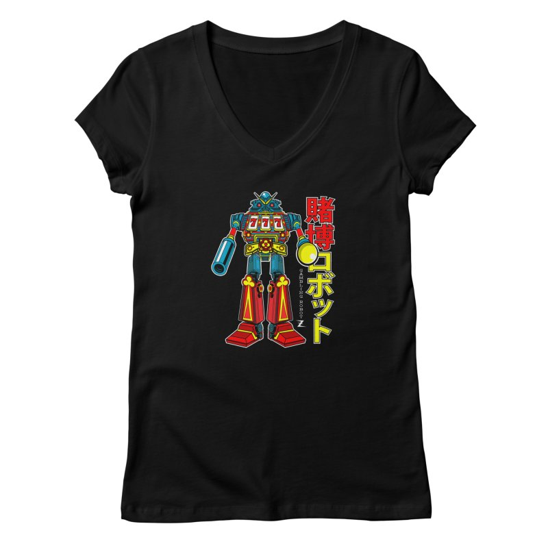 Super Slot-Bot Gamblor Women's V-Neck by Jesse Philips' Artist Shop