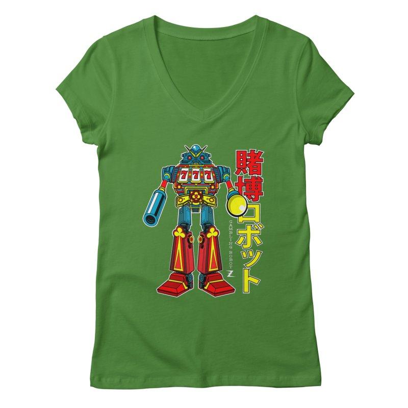 Super Slot-Bot Gamblor Women's V-Neck by Jesse Philips' Artist Shop