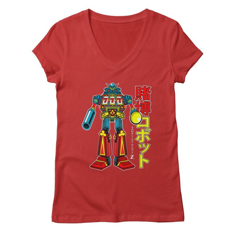 Super Slot-Bot Gamblor Women's Regular V-Neck by Jesse Philips' Artist Shop