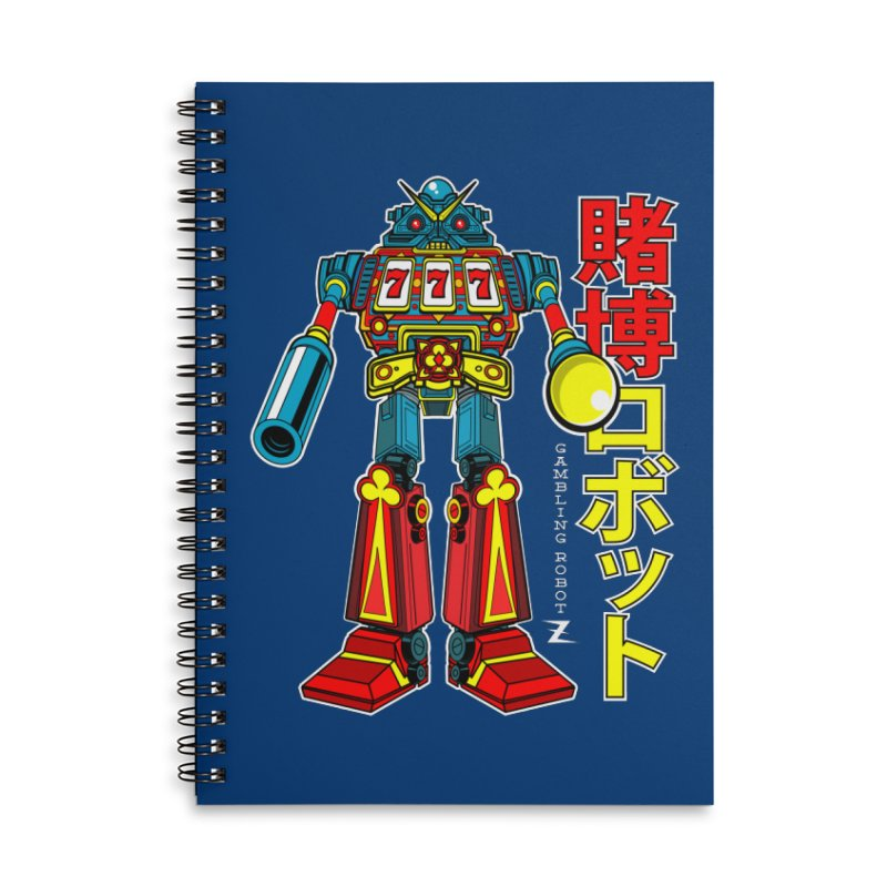 Super Slot-Bot Gamblor Accessories Lined Spiral Notebook by Jesse Philips' Artist Shop