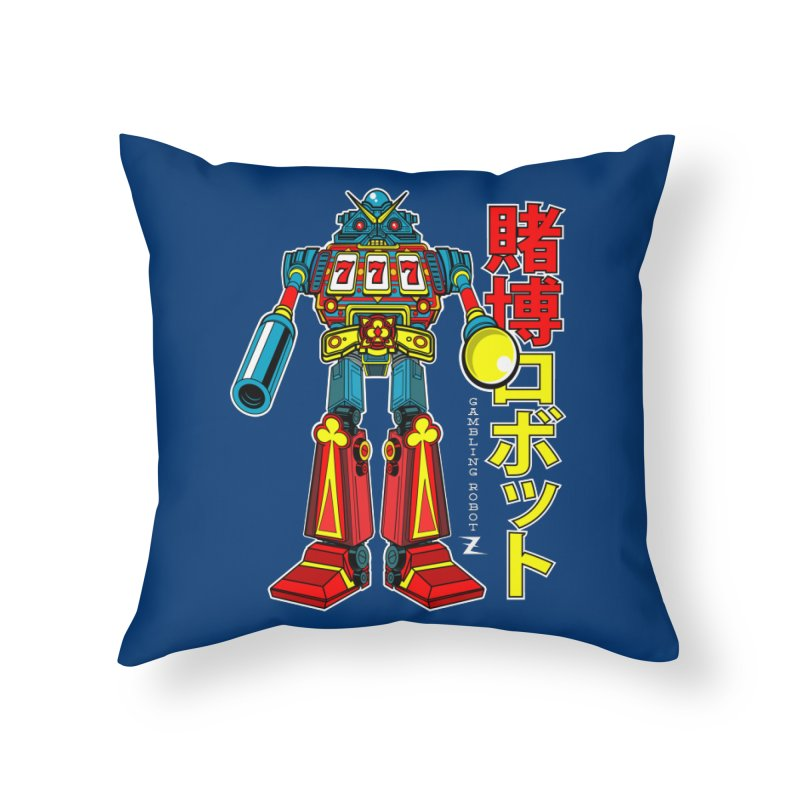Super Slot-Bot Gamblor Home Throw Pillow by Jesse Philips' Artist Shop