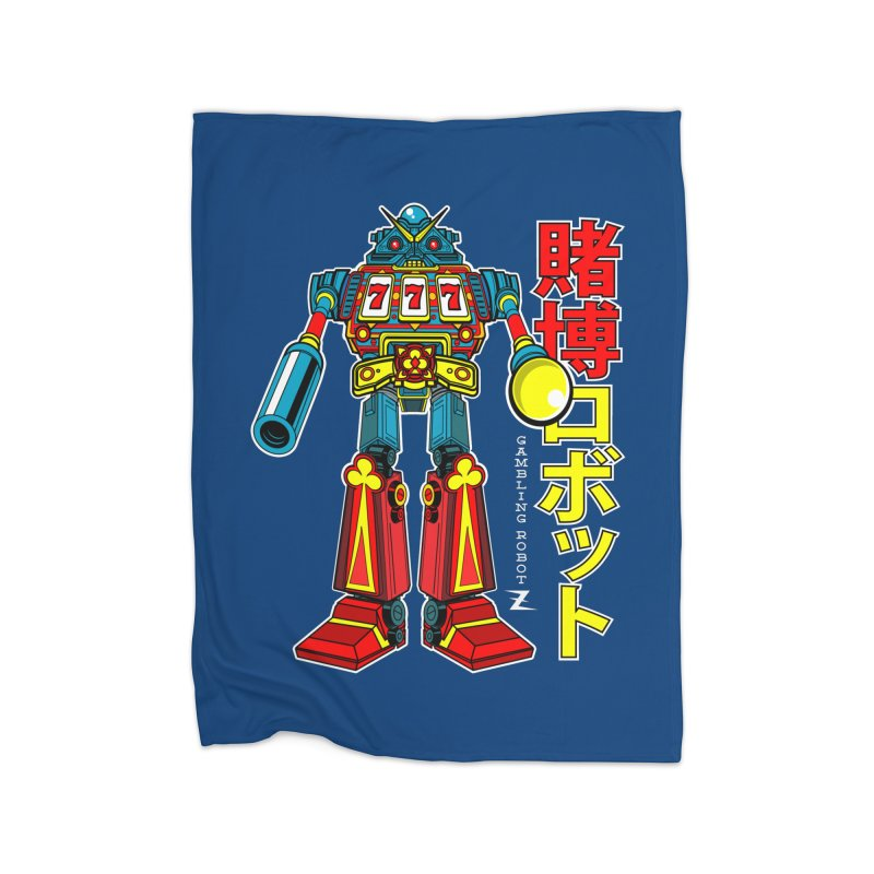 Super Slot-Bot Gamblor Home Fleece Blanket by Jesse Philips' Artist Shop