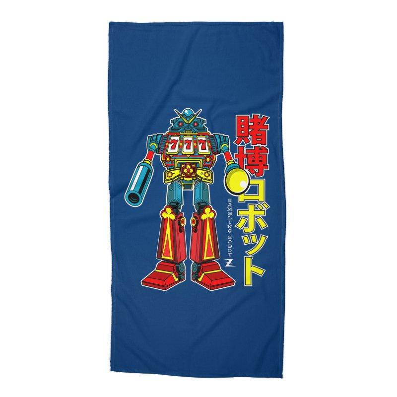 Super Slot-Bot Gamblor Accessories Beach Towel by Jesse Philips' Artist Shop