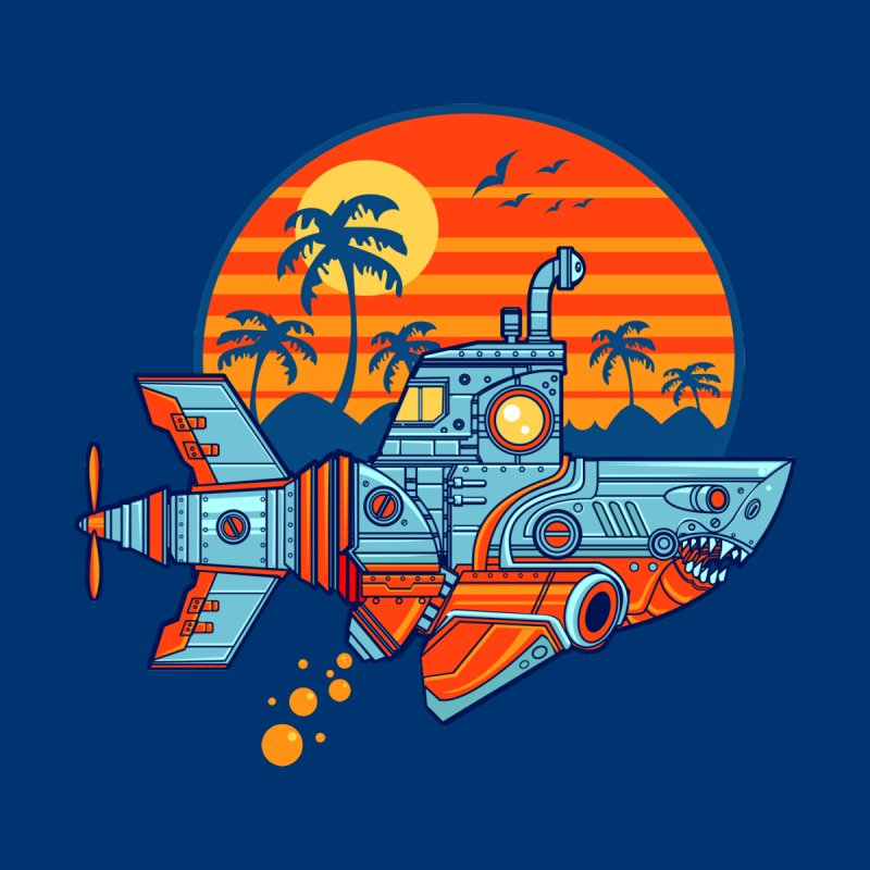 ROBOSHARK  Men's T-Shirt by Jesse Philips' Artist Shop