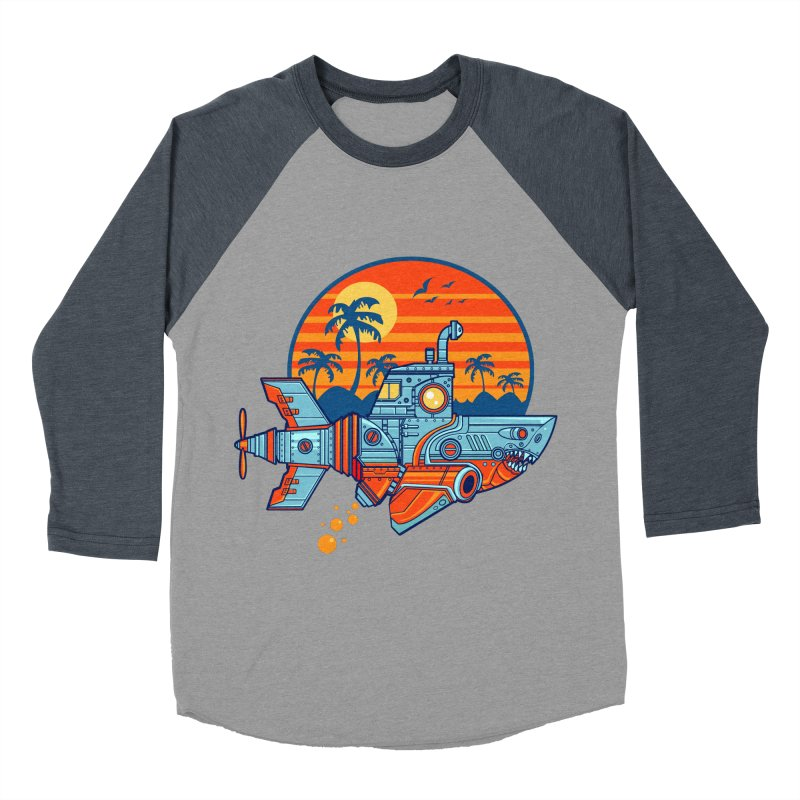 ROBOSHARK  Men's Baseball Triblend T-Shirt by Jesse Philips' Artist Shop