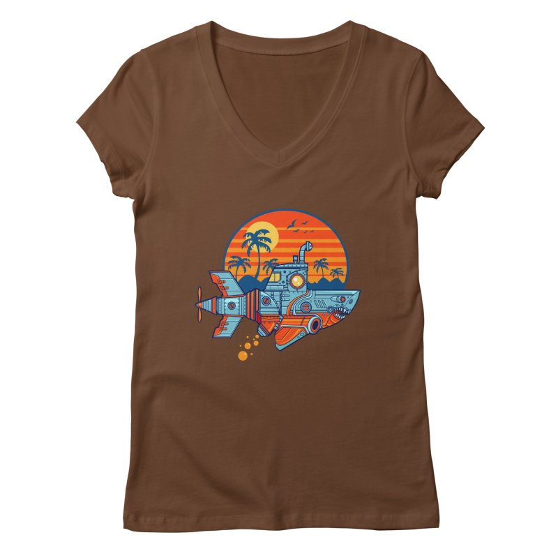 ROBOSHARK  Women's V-Neck by Jesse Philips' Artist Shop