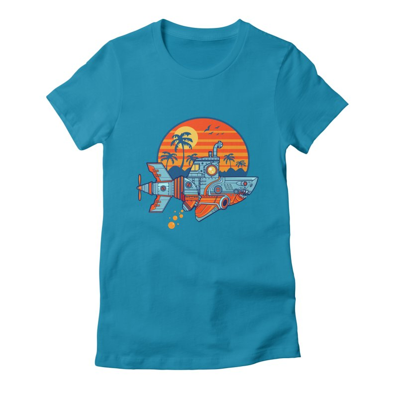 ROBOSHARK  Women's Fitted T-Shirt by Jesse Philips' Artist Shop