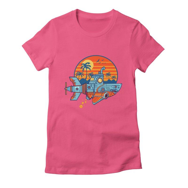 ROBOSHARK  Women's Fitted T-Shirt by Jesse Philips' Artist Shop
