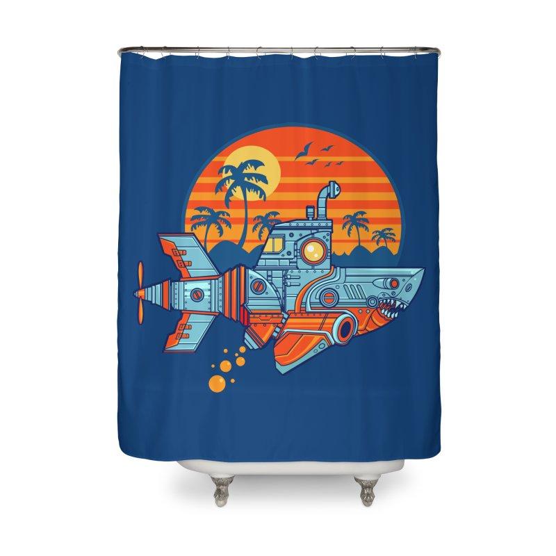 ROBOSHARK  Home Shower Curtain by Jesse Philips' Artist Shop
