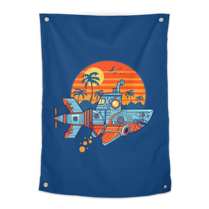ROBOSHARK  Home Tapestry by Jesse Philips' Artist Shop