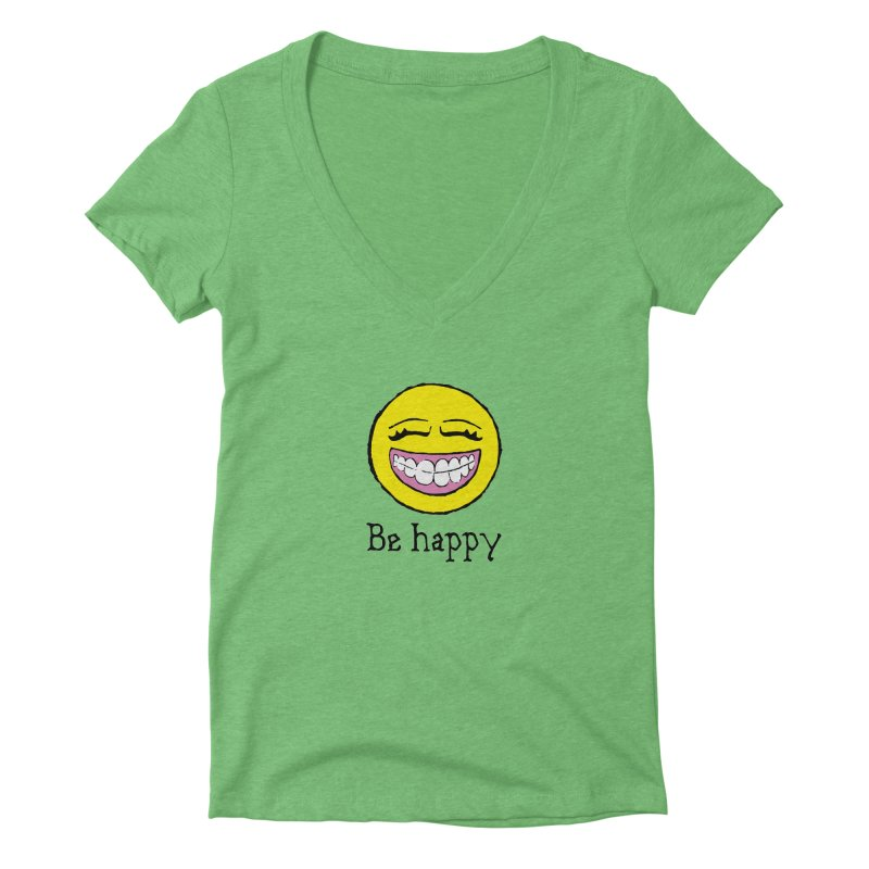 Be Happy Women's Deep V-Neck V-Neck by Jesse Quam