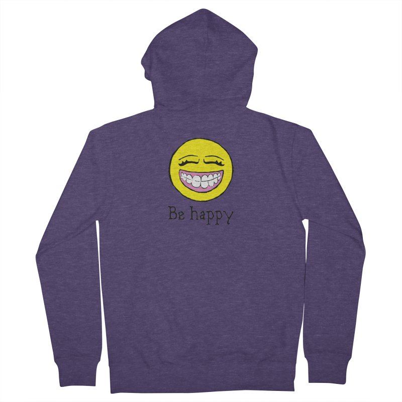 Be Happy Men's French Terry Zip-Up Hoody by Jesse Quam