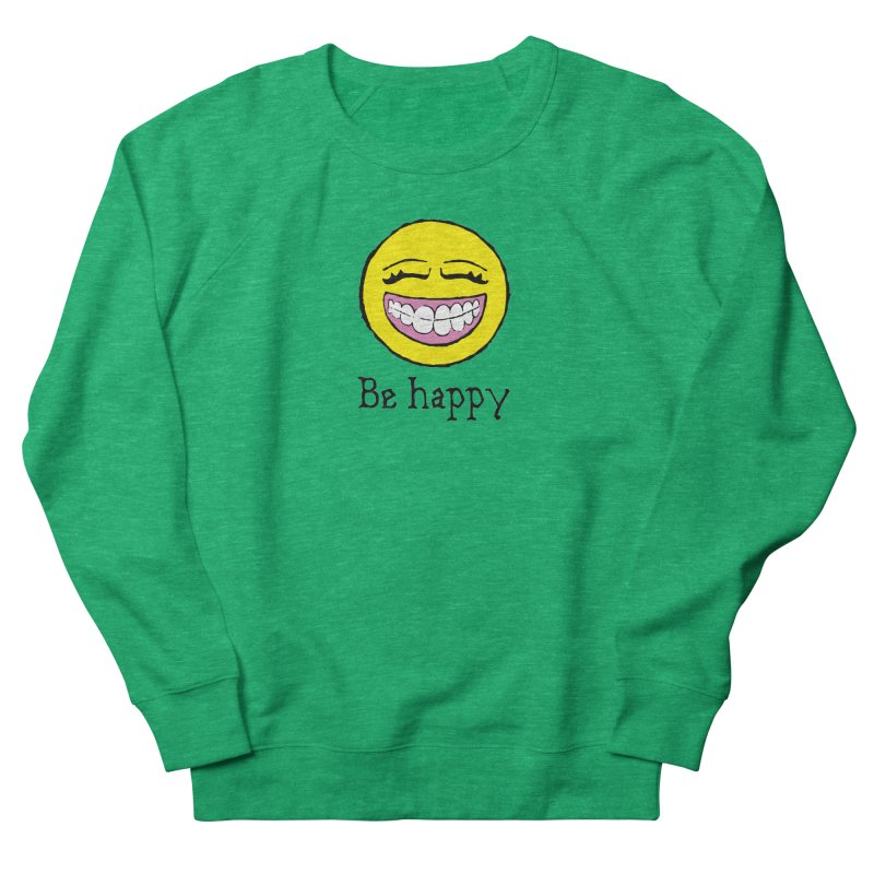 Be Happy Men's French Terry Sweatshirt by Jesse Quam