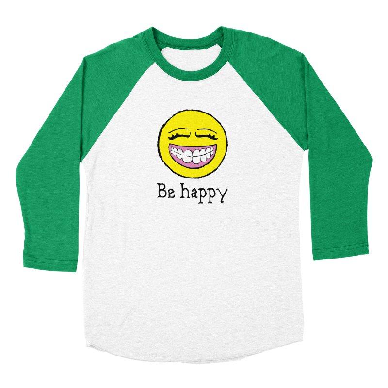 Be Happy Women's Baseball Triblend Longsleeve T-Shirt by Jesse Quam