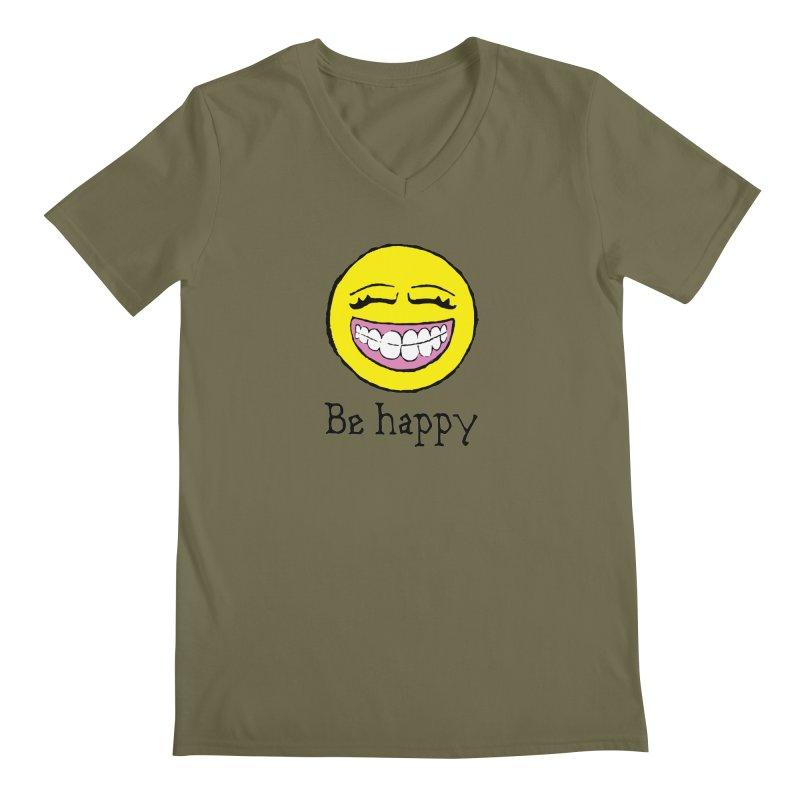 Be Happy Men's Regular V-Neck by Jesse Quam