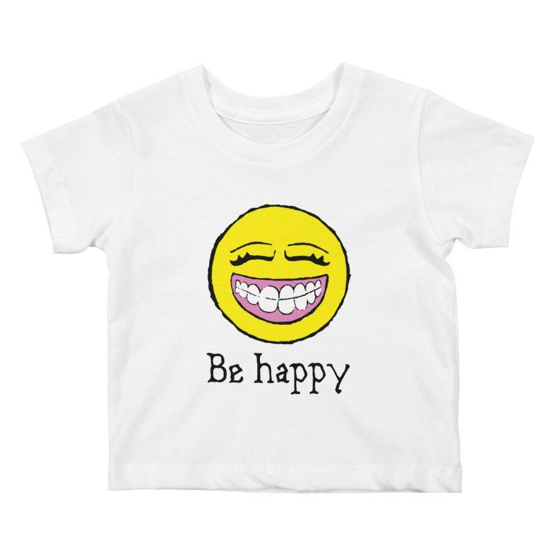 Be Happy Kids Baby T-Shirt by Jesse Quam