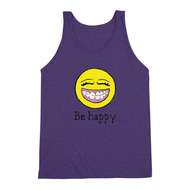 Be Happy Men's Triblend Tank by Jesse Quam