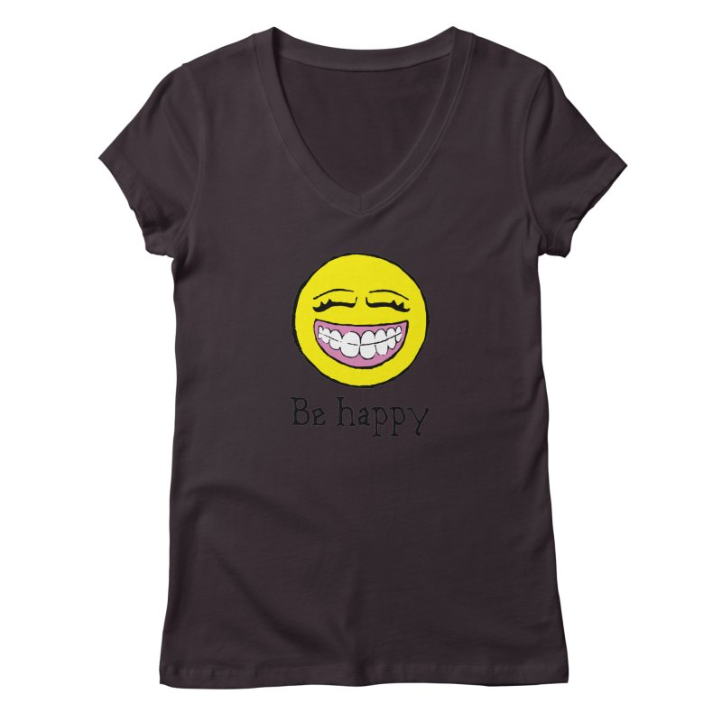 Be Happy Women's Regular V-Neck by Jesse Quam
