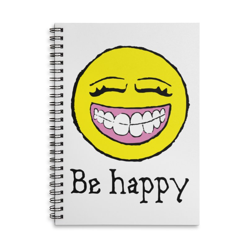 Be Happy Accessories Lined Spiral Notebook by Jesse Quam