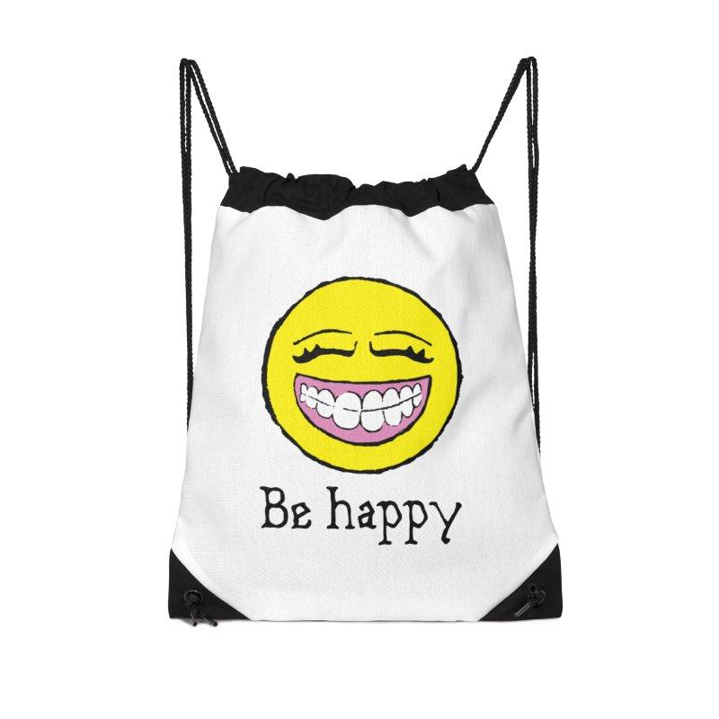 Be Happy Accessories Drawstring Bag Bag by Jesse Quam