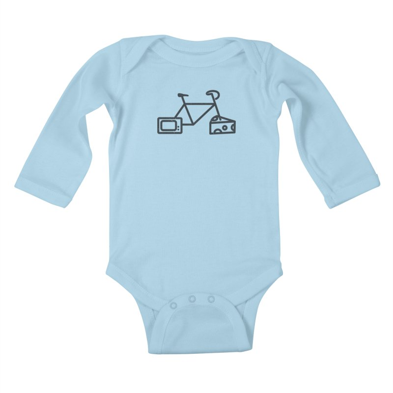 Bikes Cheese TV Kids Baby Longsleeve Bodysuit by jesshanebury's Artist Shop