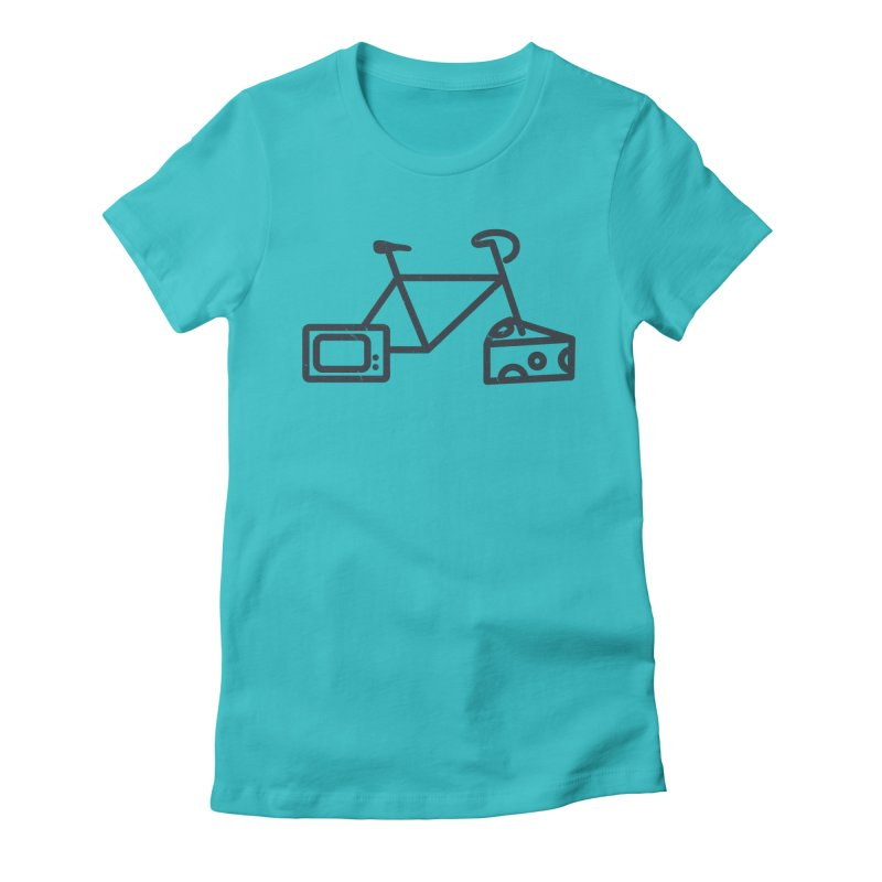 Bikes Cheese TV in Women's Fitted T-Shirt Pacific Blue by jesshanebury's Artist Shop
