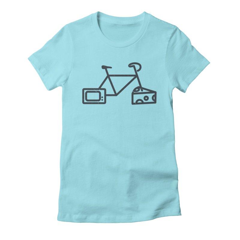 Bikes Cheese TV Women's Fitted T-Shirt by jesshanebury's Artist Shop