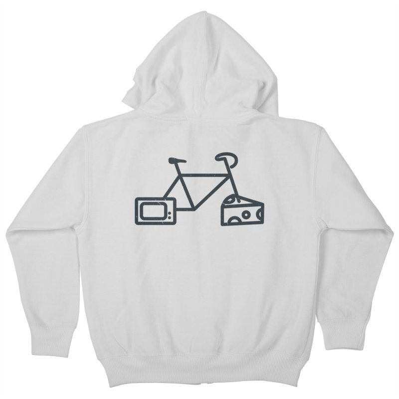 Bikes Cheese TV in Kids Zip-Up Hoody Heather Grey by jesshanebury's Artist Shop