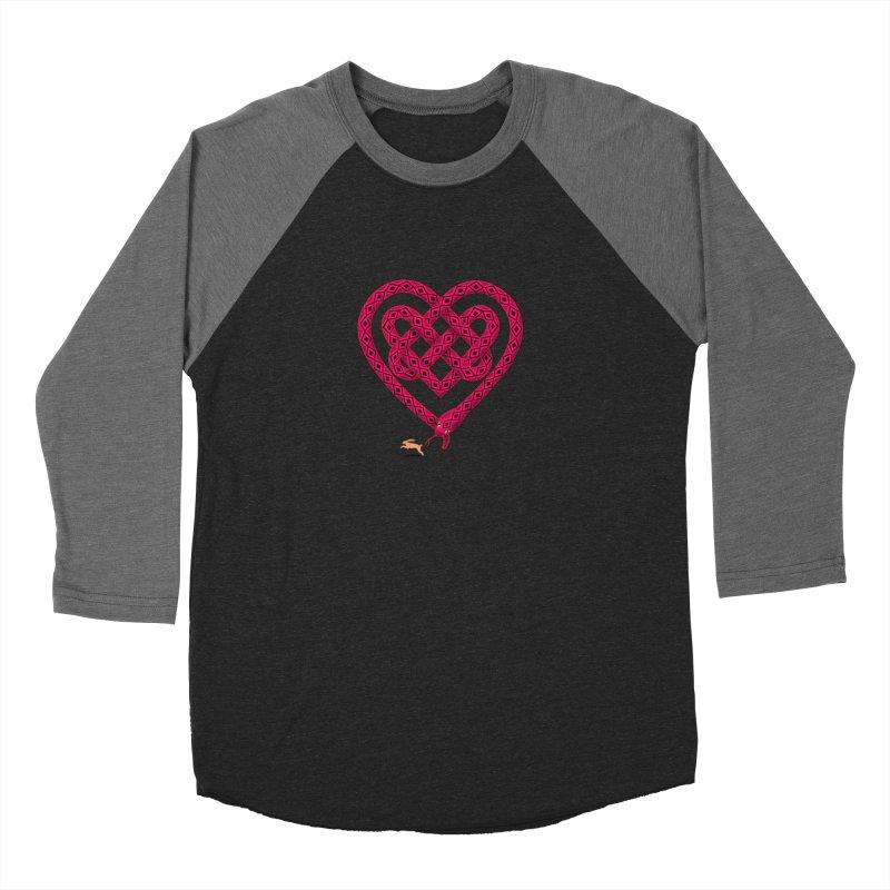 Knotted Heart Men's Baseball Triblend T-Shirt by JesFortner