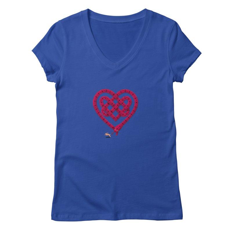 Knotted Heart Women's Regular V-Neck by JesFortner