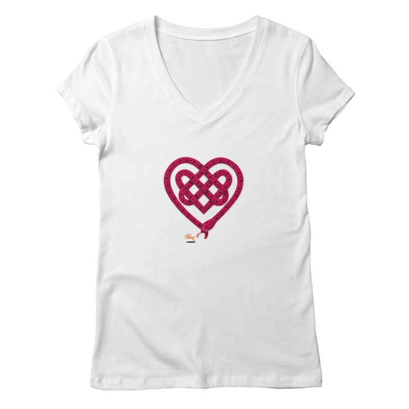 Knotted Heart Women's V-Neck by JesFortner